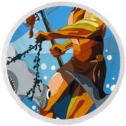 Poseidon - W/hidden Pictures Round Beach Towel