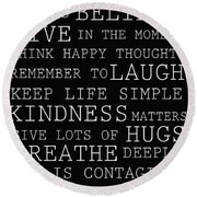 Positive Words Round Beach Towel
