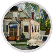 Post Office At Lafeyette Nj Round Beach Towel