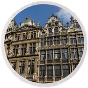 Round Beach Towel featuring the photograph Postcard From Brussels - Grand Place Elegant Facades by Georgia Mizuleva
