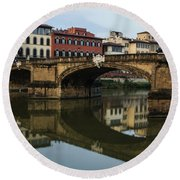 Postcard From Florence - Arno River And Ponte Santa Trinita  Round Beach Towel