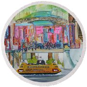 Postcards From New York City Round Beach Towel