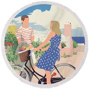 Poster Advertising Bermuda Round Beach Towel by Adolph Treidler
