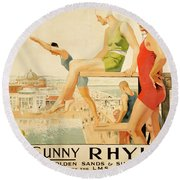 Poster Advertising Sunny Rhyl  Round Beach Towel