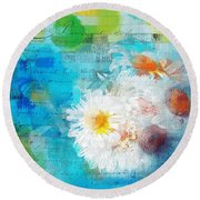 Pot Of Daisies 02 - J3327100-bl1t22a Round Beach Towel by Variance Collections