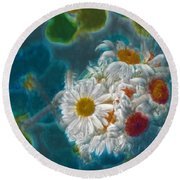 Pot Of Daisies 02 - S11bl01 Round Beach Towel by Variance Collections