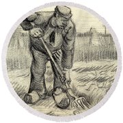 Potato Gatherer Round Beach Towel