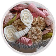 Potpourri In Pink And Cream Round Beach Towel by Connie Fox