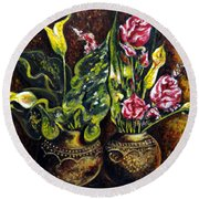 Round Beach Towel featuring the painting Pots And Flowers by Harsh Malik