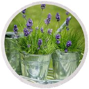 Pots Of Lavender Round Beach Towel by Amanda Elwell
