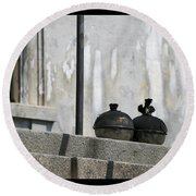 Round Beach Towel featuring the photograph Pots On The Porch by Victoria Harrington