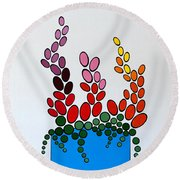 Potted Blooms - Blue Round Beach Towel