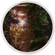 Round Beach Towel featuring the photograph Potters Clay by Jean OKeeffe Macro Abundance Art
