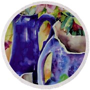 Pottery And Flowers Round Beach Towel