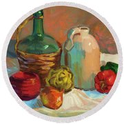 Pottery And Vegetables Round Beach Towel by Diane McClary