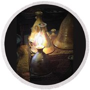Pottery Oil Lamp  Round Beach Towel