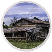 Round Beach Towel featuring the photograph Pottsville Arkansas Historic Log Barn by Betty Denise
