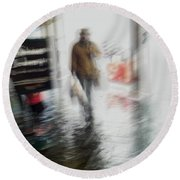 Round Beach Towel featuring the photograph Pounding The Pavement by Alex Lapidus