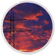Power Lines At Sunset Germany Round Beach Towel