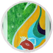 Power Of Aum Round Beach Towel