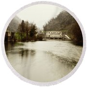 Power Plant On River Round Beach Towel