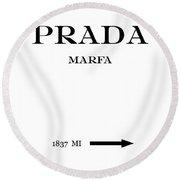 Prada Marfa 1837 Mi Mileage Distance Round Beach Towel