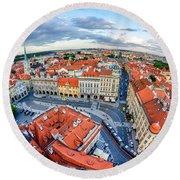Prague From Above Round Beach Towel