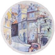 Prague Golden Well Lane Round Beach Towel