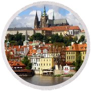 Round Beach Towel featuring the photograph Prague Skyline by Ira Shander