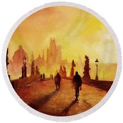 Prague Sunrise Round Beach Towel