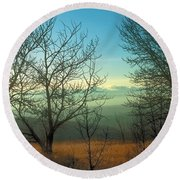 Prairie Autumn 2 Round Beach Towel by Terry Reynoldson