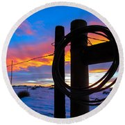 Prairie Fence Sunset Round Beach Towel