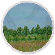 Prairie Morning Light Round Beach Towel