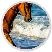 Prancing In The Sea Round Beach Towel