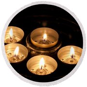 Prayer Candles In Notre Dame Round Beach Towel
