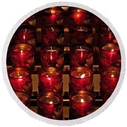 Prayer Candles Round Beach Towel by Suzanne Stout