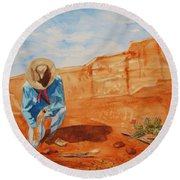 Round Beach Towel featuring the painting Prayer For Earth Mother by Ellen Levinson
