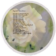 Prayer Of St. Francis And Yellow Rose Round Beach Towel