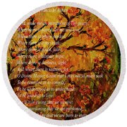Prayer Of St. Francis Of Assisi  And Cherry Blossoms Round Beach Towel