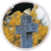 Praying Crow On Cross Round Beach Towel