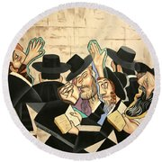 Round Beach Towel featuring the painting Praying Rabbis by Anthony Falbo