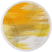 Precious Metals Abstract Round Beach Towel