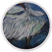Round Beach Towel featuring the painting Preening Crane by Avonelle Kelsey