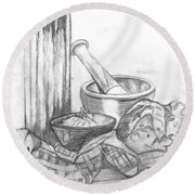 Round Beach Towel featuring the drawing Preparing Starter Course by Teresa White