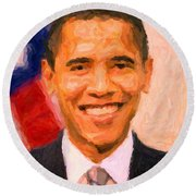 President Barack Obama Round Beach Towel by Celestial Images