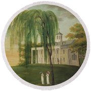 President George Washington 1732-99 On The Porch Of His House At Mount Vernon Oil On Canvas Round Beach Towel