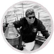 President John Kennedy Sailing Round Beach Towel