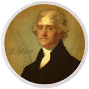 President Thomas Jefferson Portrait And Signature Round Beach Towel by Design Turnpike