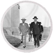 President Truman On A Walk Round Beach Towel by Underwood Archives