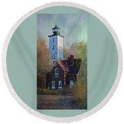 Presque Isle Lighthouse Round Beach Towel